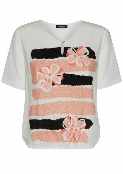 Shirt Pattern Mix mit Kristallknopf am Ausschnitt
